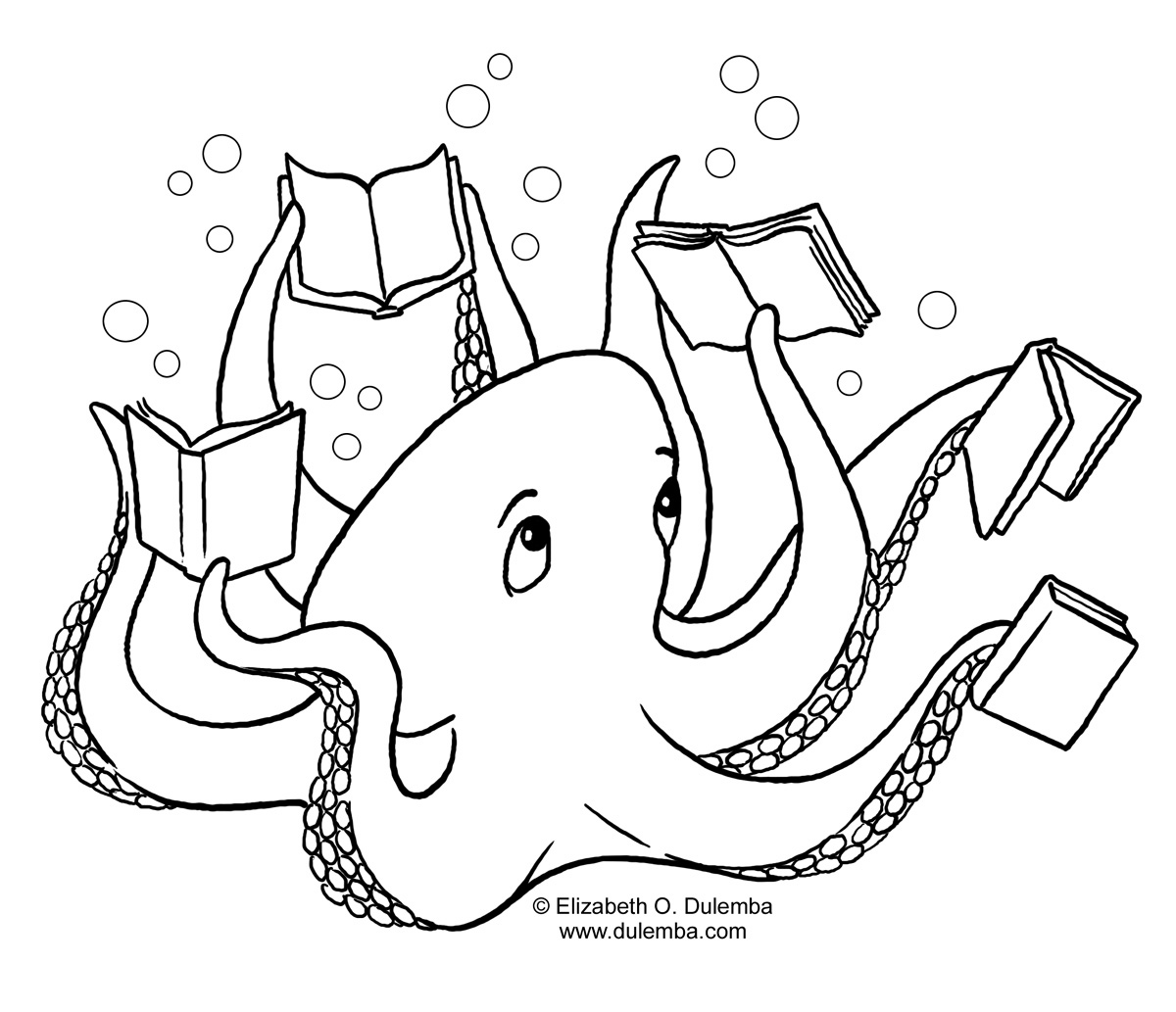 octopus coloring book images