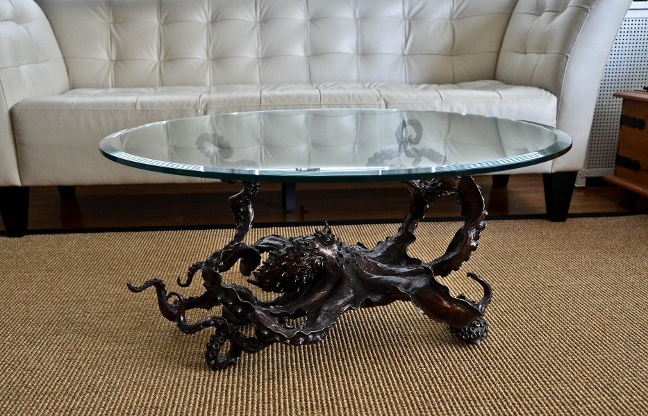 Bronze octopus coffee table: 'Cephalopod'